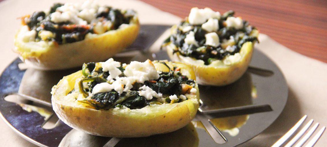 ricetta patate al forno ripiene con spinaci